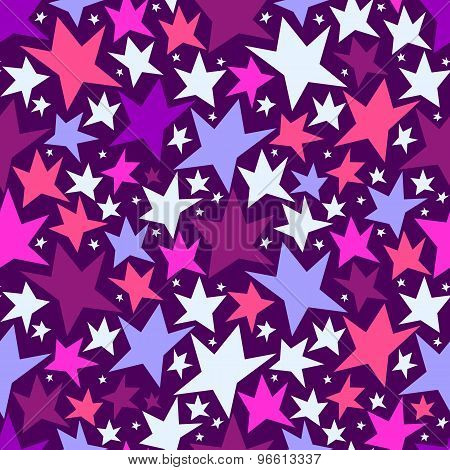 Seamless Pattern With Colorful Stars. Vector Seamless Texture For Wallpapers, Pattern Fills, Web Pag