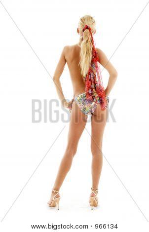 Goldenen Heels Mädchen im Bikini