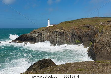 Lighthouse North Cornwall coast Trevose Head between Newquay and Padstow English maritime building
