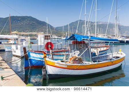 Colorful Wooden Fishing Boats, South Corsica
