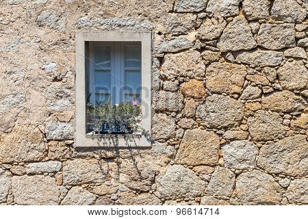 Old Window With Plant In Ancient Gray Stone Wall