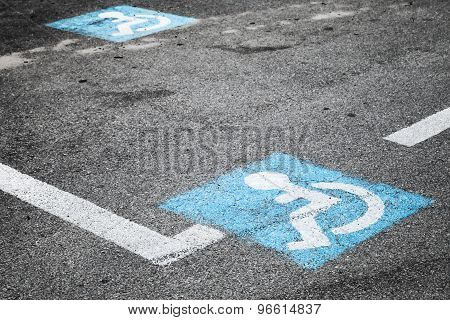 Road Marking Of Place For Disabled Persons