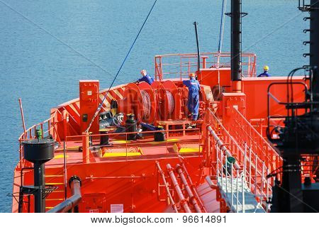 Bow With Equipment And Sailors Of Lpg Tanker