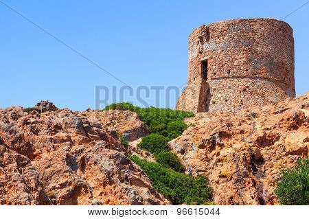 Genoese Tower On Capo Rosso Cliff, Corsica