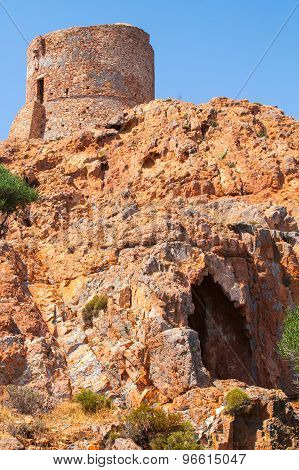 Ancient Genoese Tower On Capo Rosso, Corsica