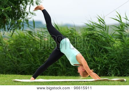 Exercising Downward Facing Dog Yoga Pose