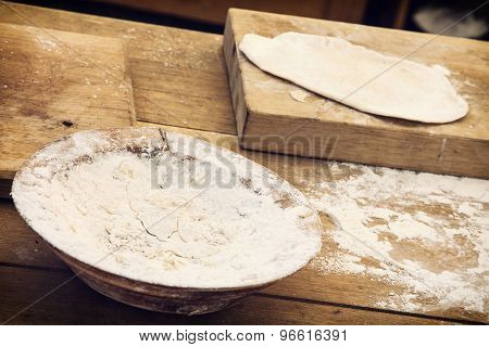 Wooden Chopping Boards With Flour And Prepared Bread Dough