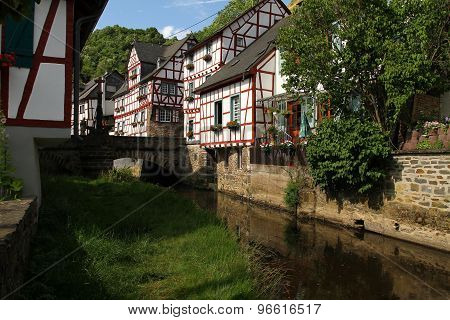 Creek lined with medieval houses