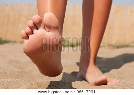 Foot Care On Beach