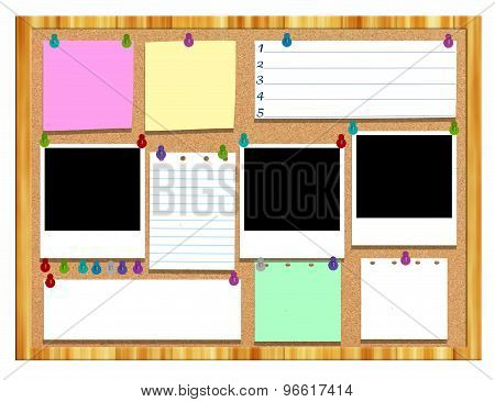 Cork board with various notes and Picture frame