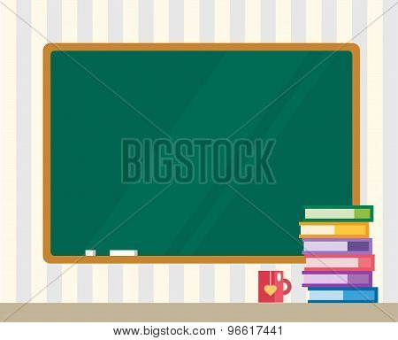 Books on desk. Clean board. Back to school. Education objects, or university and college symbols. St