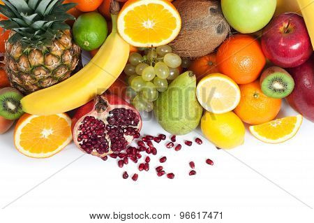Fruit Background From Up Isolated