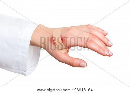 Plaster Bandage On Injured Skin