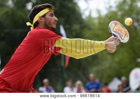 MOSCOW, RUSSIA - JULY 19, 2015: Antomi Ramos-Viera of Spain in the match for 3rd place of the Beach Tennis World Team Championship against Brazil. Spain won the match