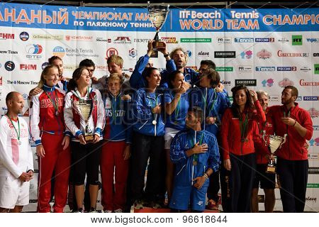MOSCOW, RUSSIA - JULY 19, 2015: Award ceremony of the Beach Tennis World Team Championship. Italy become world champion, Russia won silver, and Spain got bronze