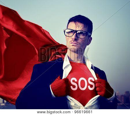 Superhero Businessman Sos Word Concept