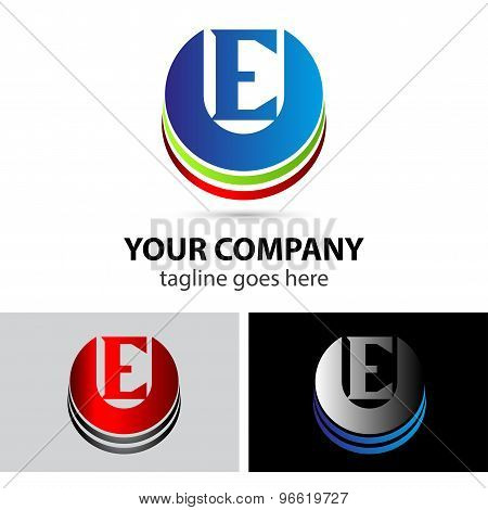 Abstract icons letter E logo