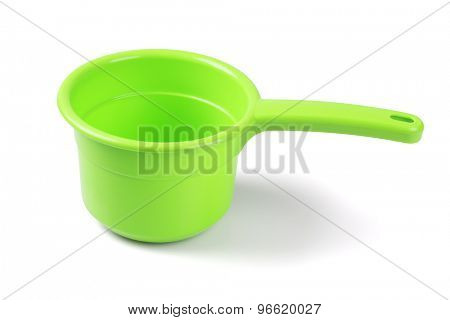 Empty Plastic Scoop on White Background