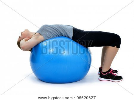 Girl exercising workout fitness aerobic on ball exercise abdominal push ups posture