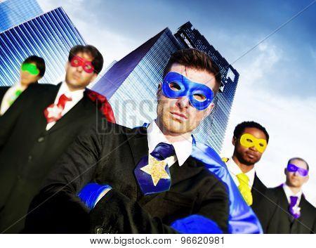 Superhero Business People Strength Cityscape Cloudscape Concept