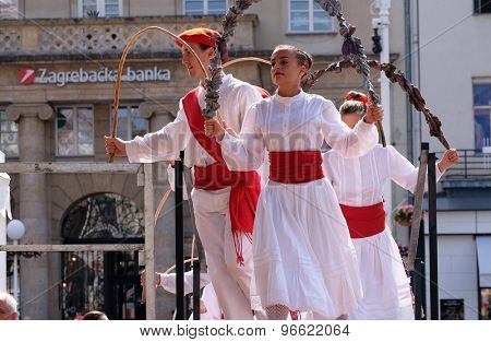 ZAGREB, CROATIA - JULY 16: Members of folk group Lagunekin from Bardos, France during the 49th International Folklore Festival in center of Zagreb, Croatia on July 16, 2015