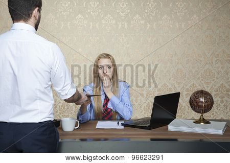 Business Woman Accepts Bribes, Funny Face