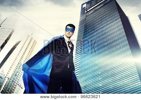 Superhero Businessman Strength Cityscape Cloudscape Concept