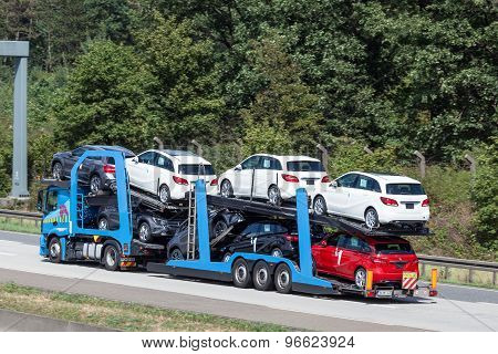 Car Transporter Truck At The Highway In Germany
