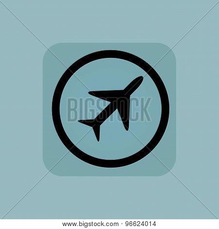 Pale blue plane sign