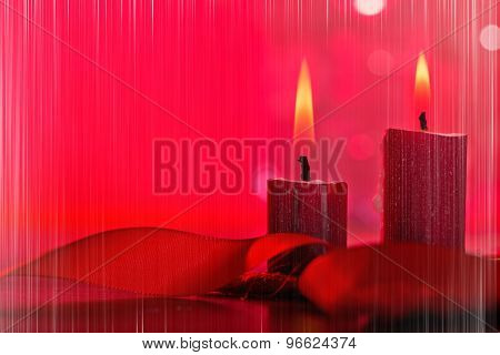 Christmas Candles With Vertical Stripes