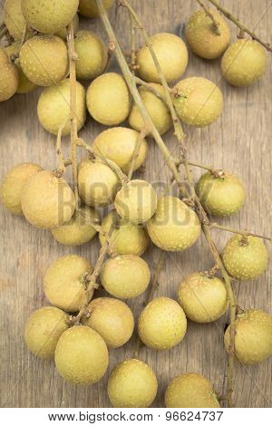 Fresh Longan On Wooden Background