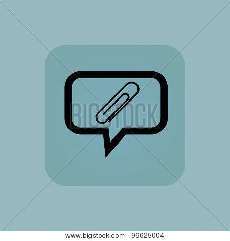 Pale blue paperclip message icon