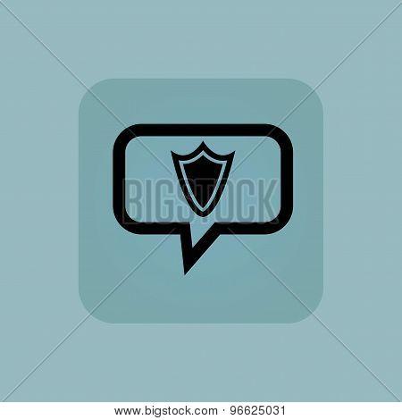 Pale blue shield message icon