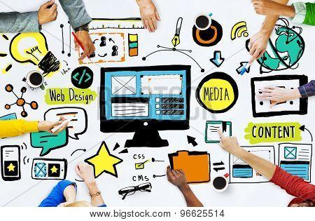 Diversity Casual People Web Design Meeting Brainstorming Concept