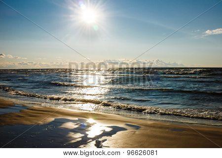 Beautiful Sunset Over Baltic Sea Beach
