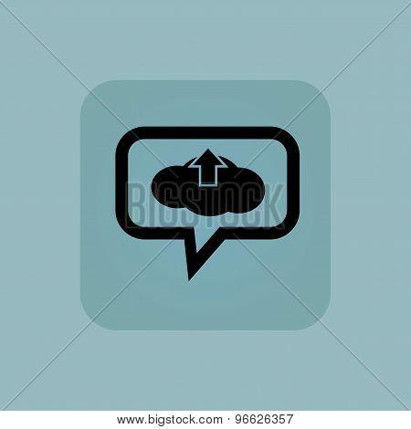 Pale blue cloud upload message