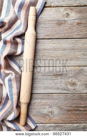 Empty Wooden Table With Rolling Pin And Napkin On Grey Backgroun