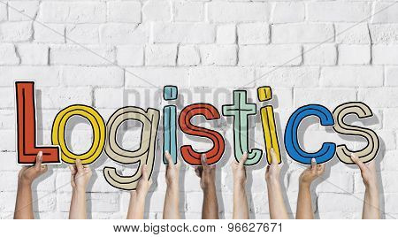 Multiethnic Group of Hands Holding Letter Logistics