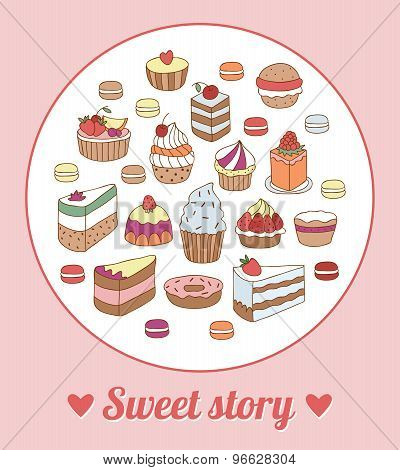 Sweet cakes, tarts, cupcakes, pies, desserts hand drawn style in vector