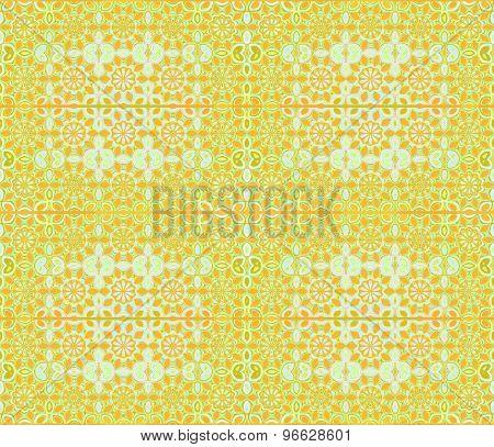 Seamless floral pattern orange green