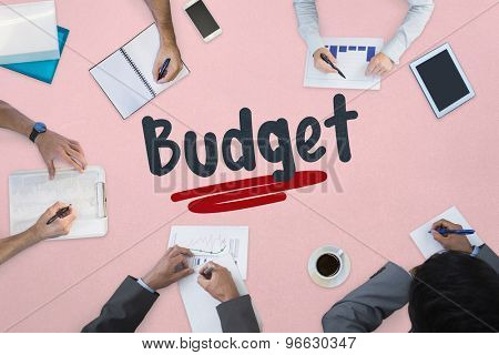 The word budget against business meeting