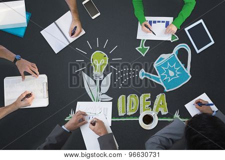 Business meeting against nurturing an idea