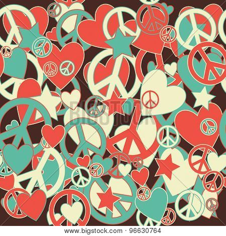 Surreal Military Camouflage Background with Love and Peace sign and Stars