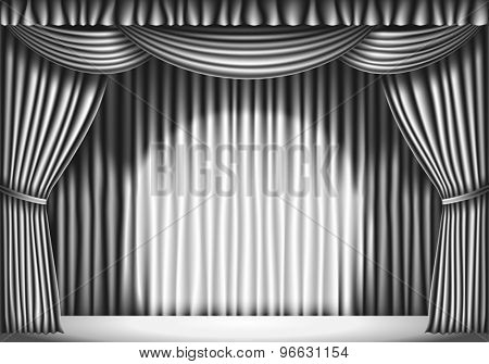 Stage with White Curtain. black and white retro illustration