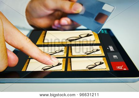 Man shopping with tablet pc against website design