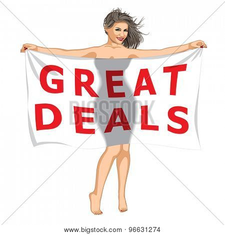 Sexy Girl Behind of the Great Deals Banner