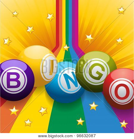 Bingo Balls On Rainbow And Stars