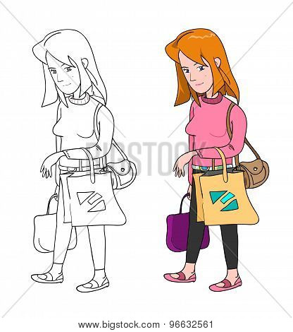 Woman Shopping (2 variations)