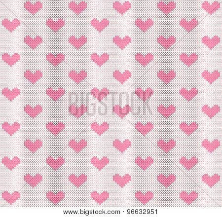 vector knitting seamless background: little hearts