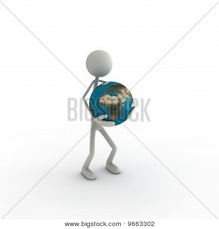 Figure with globe Europe